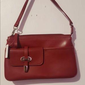 Nine West Cherry Red Leather Shoulder Bag